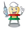 nurse cartoon baby highchair for kids feeding vector image