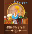 oktoberfest poster with german cute girl vector image vector image