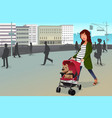 pregnant woman walking with her dog and a vector image vector image