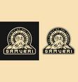 samurai spirit vintage monochrome emblem vector image