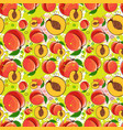 seamless pattern peach fruits summer ornament vector image