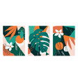 set collages contemporary floral modern exotic vector image vector image