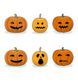set of pumpkins halloween holiday vector image vector image
