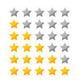 set rating stars icon for review vector image vector image