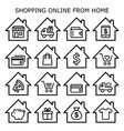 shopping online from home icons set online vector image