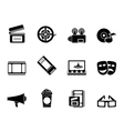 Silhouette Movie theatre and cinema icons vector image vector image