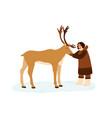 smiling eskimo woman hugging reindeer flat vector image vector image