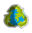 sticker earth planet inside of recycling symbol vector image vector image