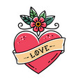 tattoo heart with flower and ribbonsymbol of love vector image vector image