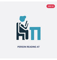 two color person reading at office icon from vector image vector image