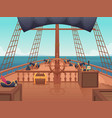 wooden pirate ship captain bridge with steering vector image vector image
