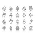 xmas tree decor simple black line icons set vector image