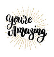 youre amazing hand drawn motivation lettering vector image vector image