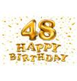 48 years golden aluminum foil balloon anniversary vector image vector image