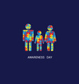 autism awareness day family mom dad child puzzle vector image