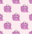 Bag seamless pattern pink hand drawn vector image