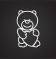 bear with heart thin line on black background vector image