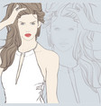 beautiful woman in white dress vector image vector image