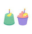 birthday cakes collection vector image vector image