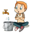 Boy watching the water vector image