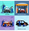 Car Wash Service 4 Flat Icons vector image vector image