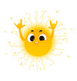 cartoon sun showing rock sign icon vector image