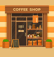 coffee shop or cafe exterior glass showcase vector image