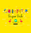 colorful summer sale banner with red flamingo bird vector image vector image