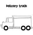 Delivery truck with hand draw vector image