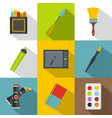 drawing tools icon set flat style vector image vector image