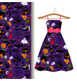 dress fabric with colorful halloween pattern vector image