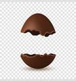 easter broken egg 3d chocolate brown open egg vector image vector image