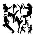 female martial art silhouettes vector image