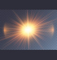 gleaming orange sun with lens flare vector image vector image