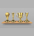 golden trophy realistic bookshelf with sport vector image vector image
