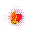 Greeting card with heart for Mom icon comics style vector image vector image