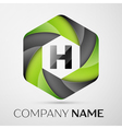 H Letter colorful logo in the hexagonal on grey vector image vector image