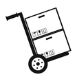 Hand cart with cardboard boxes black simple icon vector image