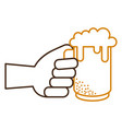 hand with jar beer fresh icon vector image