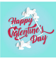 happy valentines day square white heart blue backg vector image