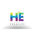 he h e colorful letter origami triangles design vector image vector image