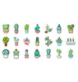 house plant icon set cartoon style vector image