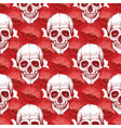human skull sketch and red flowers seamless vector image vector image