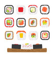 icon set of yummy colored sushi rolls vector image