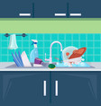 kitchen sink dirty dishes background with plates vector image vector image