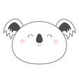 koala bear round face head sketch line icon vector image vector image
