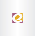 letter e logo e purple yellow sign icon vector image vector image