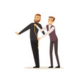 male dressmaker taking measurements from young man vector image vector image