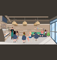 mix race people sitting at cafe tables visitors vector image vector image