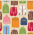 modern seamless pattern with backpacks or vector image